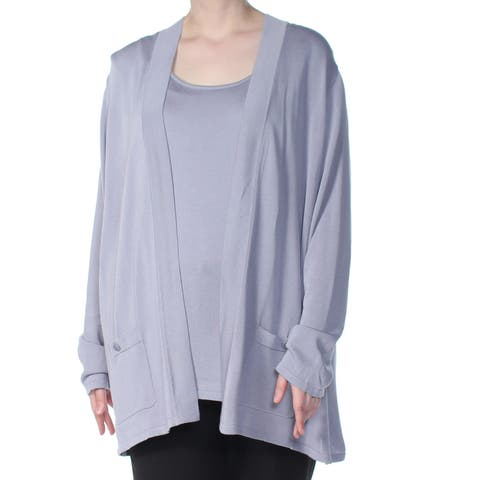 ANNE KLEIN Womens Light Blue Long Sleeve Top Plus Size: 3X