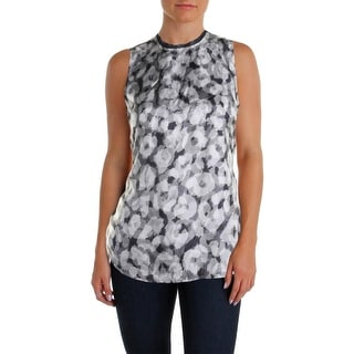 Theory Womens Petites Printed Sleeveless Casual Top - p