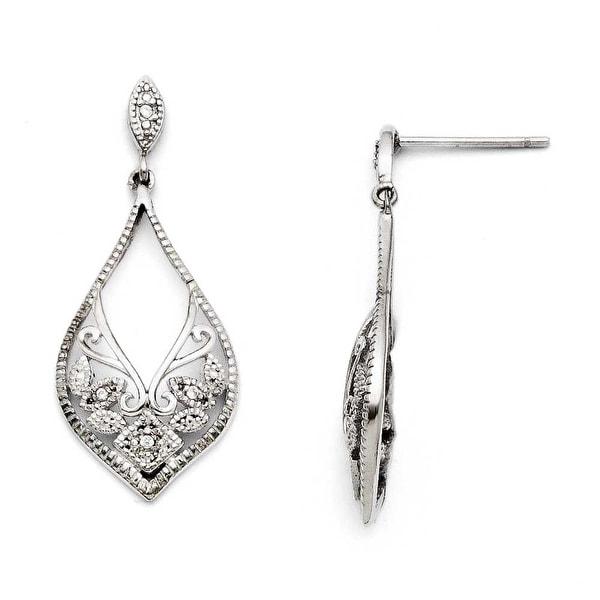 Chisel Stainless Steel CZ Shepherd Hook Dangle Earrings