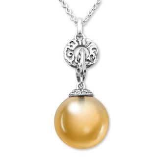 Evert DeGraeve 15 ct Citrine & White Sapphire Pendant in Sterling Silver - Orange