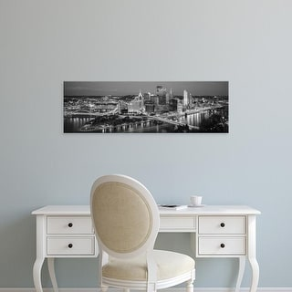 Easy Art Prints Panoramic Image 'Buildings in city lit up at dusk, Pittsburgh, Allegheny, Pennsylvania' Canvas Art