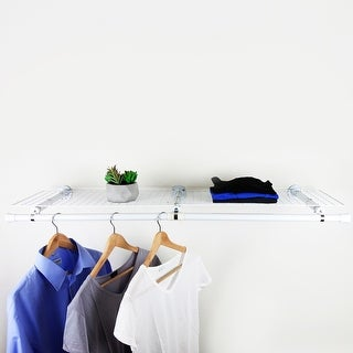 Hermosa Home Decorative Steel Double Shelf Organizer with Hanger - White