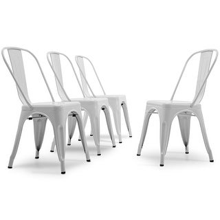 Link to BELLEZE Set of 4 Stackable Side Chairs Stool Backrest Counter, White Similar Items in Dining Room & Bar Furniture