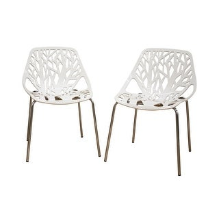 Birch Sapling White Plastic Accent / Dining Chair - 2pcs