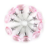 30mm Crystal Glass Diamond Shape Drawer Knobs Cabinet Pull Handle New Pink 10pcs