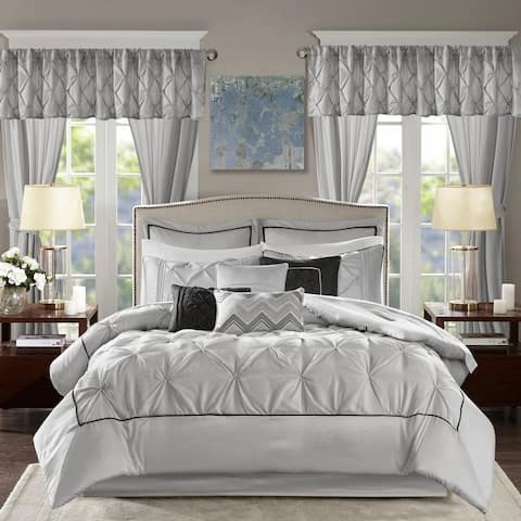 Madison Park Essentials Loretta Taupe 24-piece Room in a Bag with Window Panels and Sheet Set