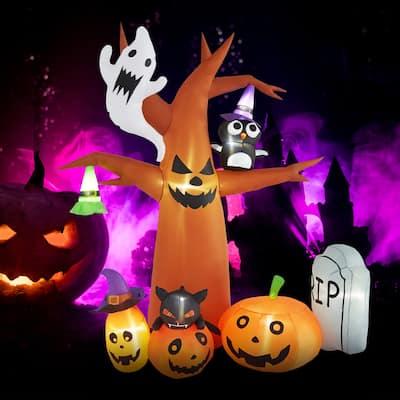 Kinbor 8 FT Halloween Inflatables Ghost Tree with Pumpkin,Owl,Hat for Decor Indoor/Outdoor Frightening Decorations Yard,Garden