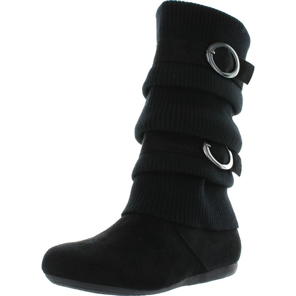 Top Moda B21 Women's Dual Buckle Warm Sweater Boots