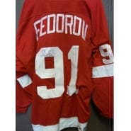 Signed Fedorov Sergei Detroit Red Wings Replica Detroit Red Wings Jersey size XL autographed