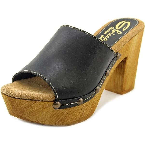 Sbicca Taffy Women Open Toe Leather Black Platform Sandal