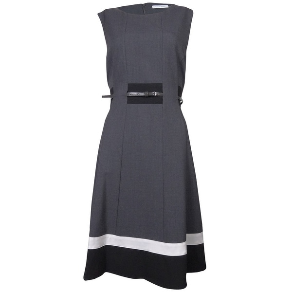 Calvin Klein Women's Striped Belted A-Line Dress