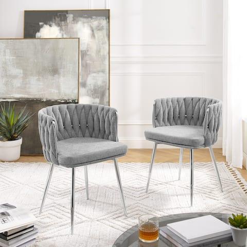 Art Leon Modern Woven Upholstery Dining Chair (Set of 2)