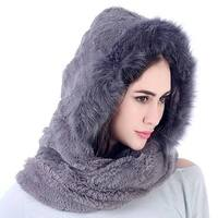 Mad Style Grey Fleece and Fur Hooded Infinity