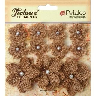 """Textured Elements Burlap Mini Flowers .75"""" -1.5"""" 11/Pkg-Natural"""