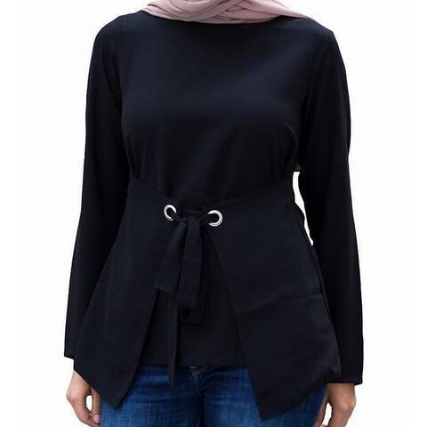 Verona Womens Blouse Black Size Medium M Grommet Front Tie Boatneck