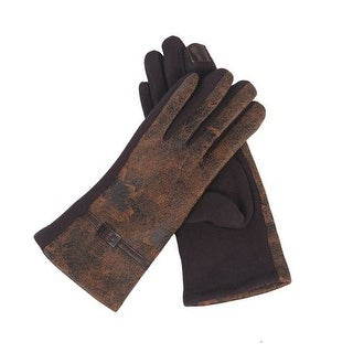 Mad Style Brown Distressed Leather Texting Gloves