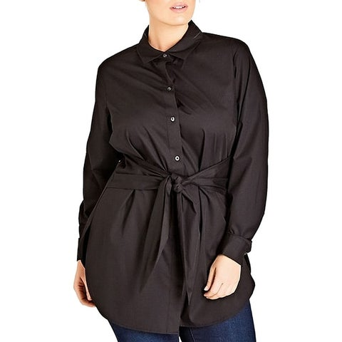 City Chic Womens Plus Tie Front Button Down Shirt