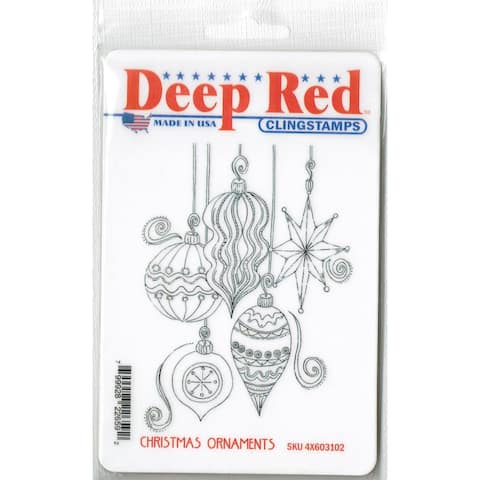 Deep Red Stamps Christmas Ornaments Rubber Cling Stamp - 3.25 x 4.25