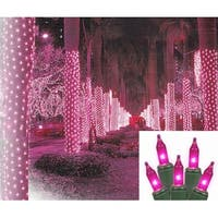 2' x 8' Pink LED Net Style Tree Trunk Wrap Christmas Lights - Green Wire
