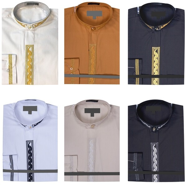 Men's Banded Collar Dress Shirt with Embroidery. Opens flyout.