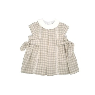 Coquelicot Baby Girls Beige Checkered Short Sleeve Lace Trim Adorned Dress