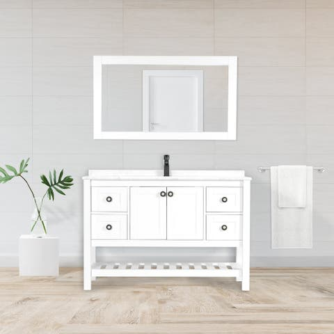Giallo Rosso Lucca 48 Inch Bathroom Vanity with Marble Top Single Sink and Matching Mirror - White