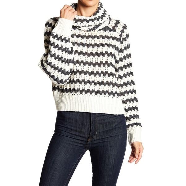Shop John + Jenn NEW White Women\'s Large L Pattern Knit Cowl Neck ...