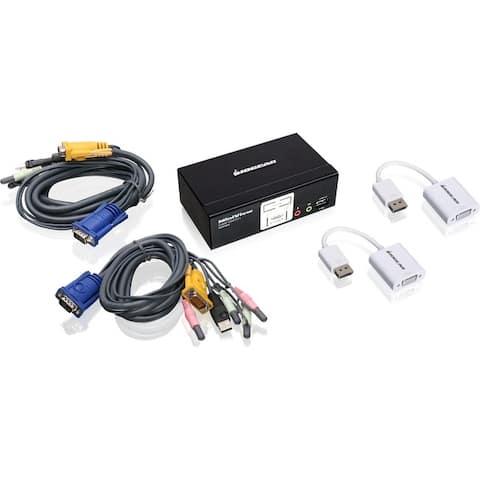 Iogear gcs1802dpkit 2port usb vga cable kvmp with osd and displayport