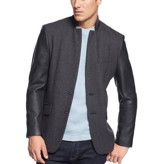 INC International Concepts Blazer Jacket Small S Charcoal Wool Blend