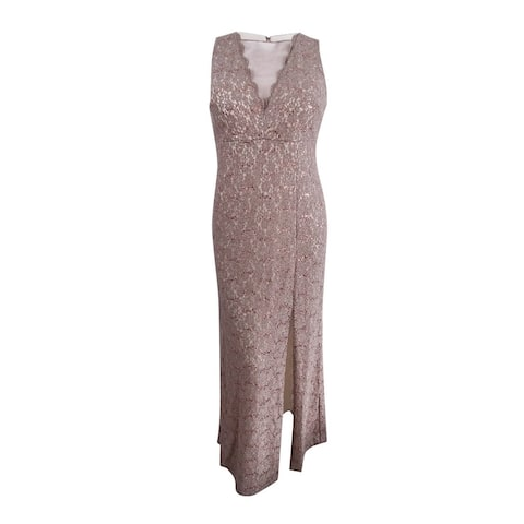 Nightway Women's Plus Size Illusion Glitter Lace Gown