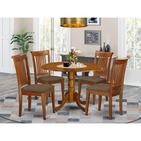 Saddle Brown Small Kitchen Table Plus 4 Dinette Chairs 5-piece Dining Set