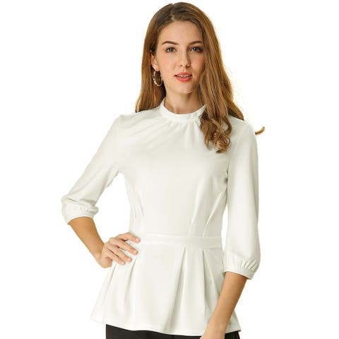 Women's Elegant Stand Collar Pleated Waist 3/4 Sleeves Peplum Tops - White