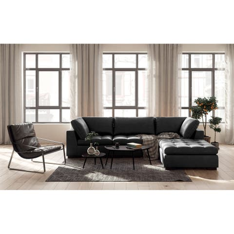Uptown Top Grain Leather Sectional with Ottoman