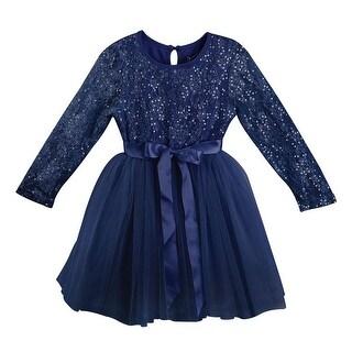 Designer Kidz Girls Navy Glitter Matilda Tutu Christmas Dress