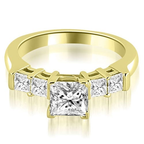 0.90 cttw. 14K Yellow Gold Princess Cut Diamond Engagement Ring