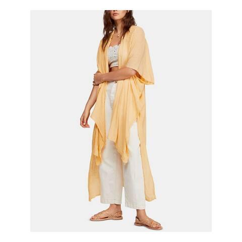 FREE PEOPLE Womens Yellow Short Sleeve Sweater Size XS