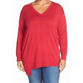 Vince Camuto NEW Red Women's Size 3X Plus Ribbed Trim V-Neck Sweater