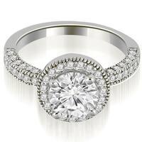 1.10 cttw. 14K White Gold Halo Round Cut Diamond Engagement Ring