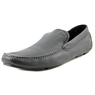 Salvatore Ferragamo Pacifico Men 2E Moc Toe Leather Black Loafer