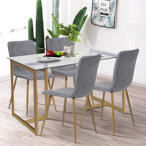 Silver Orchid 5 piece Dining Table Set (Set for 4)