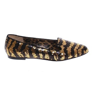 Dolce & Gabbana Black Gold Sequined Ballet Flat Shoes - 39.5