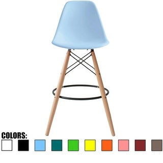 """2xHome 25"""" Eames Style Armless Bar Stool Chair With Dowel Natural Wood Eiffel Style Legs"""