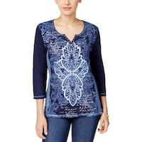 Karen Scott Womens Petites Pullover Top Split-Neck Printed