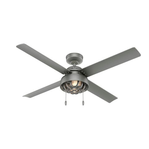 "Hunter 52"" Spring Mill Outdoor Ceiling Fan with LED Light Kit and Pull Chain, Damp Rated"