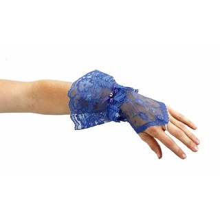Gothic Princess Sheer Lace Fingerless Gauntlet Glove with Ruffles