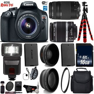 Canon EOS Rebel T6 DSLR Camera with 18-55mm IS II Lens & 75-300mm III Lens + Camera Case + Tripod + Bundle 22 (Intl Model)