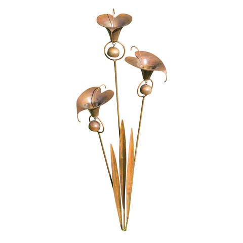 Ancient Graffiti Outdoor Stainless Steel Calla Lilies Garden Stake - Three Flowers with Bells and Leaves