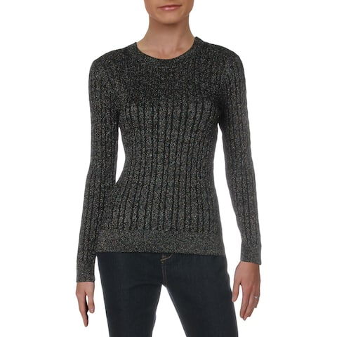 Milly Womens Pullover Sweater Cable Knit Shimmer - Black - S