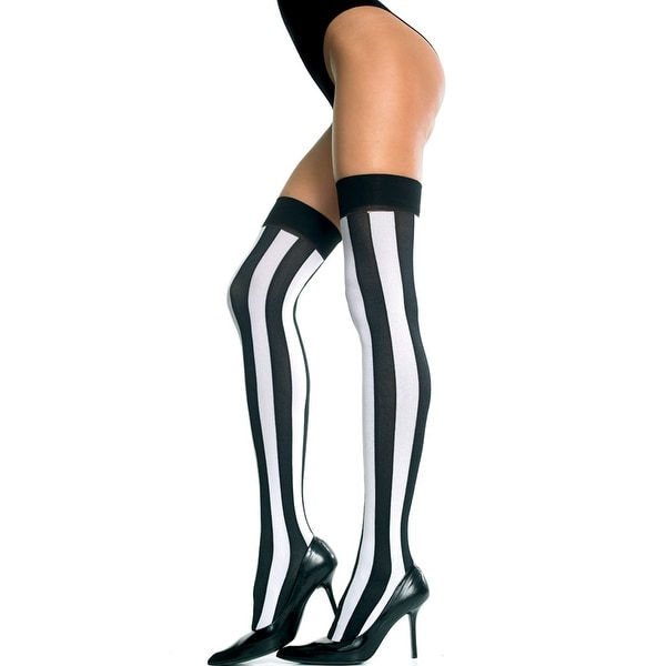 Black Opaque and Sheer Vertical Stripes Thigh Highs w//Red Bows