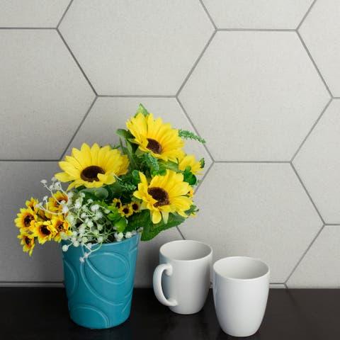 "SomerTile Vintage Hex Blanco 8.63"" x 9.86"" Porcelain Floor and Wall Tile"